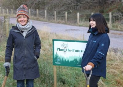 Catherine Maxwell-Stuart and her daughter marking national tree week 2020